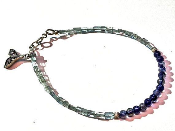 Natural aquamarine and iolite bracelet. 925 Sterling by Emmalishop
