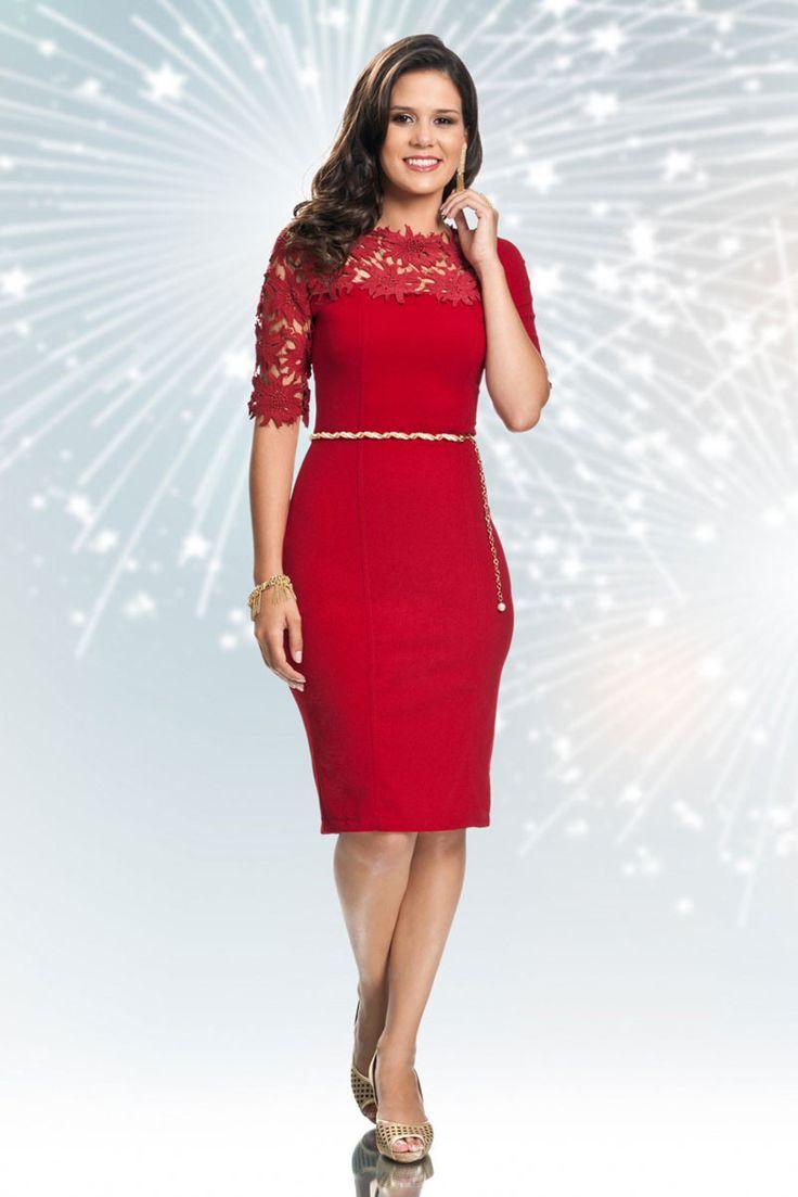 Vestido Tabata Vermelho da Bella Herança.✓Troca Grátis. ✓ Melhores marcas de moda evangélica. ✓ Até 3x sem Juros