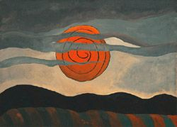 ARTHUR G. DOVE (1880–1946)   Red Sun, 1935 Oil on canvas 20 1/4 x 28 in The artist definitely changed this image.  I think he wanted to simplify it to make the sum seem larger than life or very important.