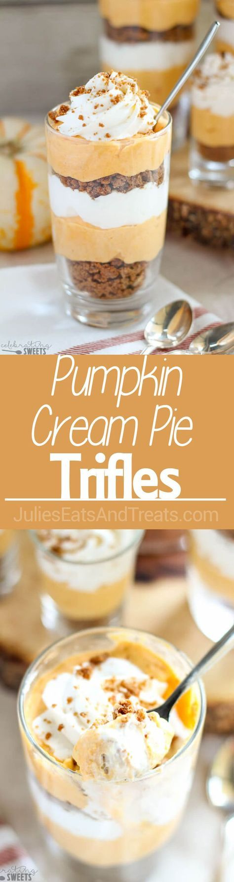 Pumpkin Cream Pie Trifles Dessert - Pumpkin cream cheese filling layered with whipped cream and crushed gingersnap cookies. Similar to pumpkin pie and pumpkin cheesecake, you will love this no-bake dessert perfect for Thanksgiving!