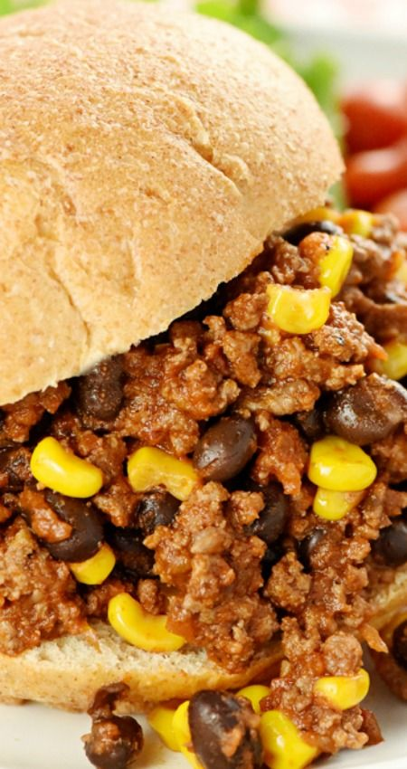 Tex-Mex Sloppy Joes ~ Jazzed up with salsa, taco seasoning, black beans, and corn in this zesty twist on a classic!