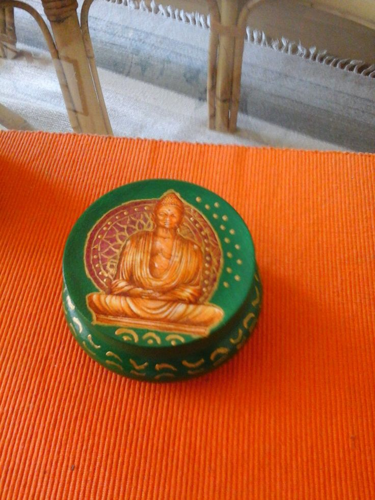 decoupage,round, green,wood, box, painted, Buddha by DoriansSanctuary on Etsy