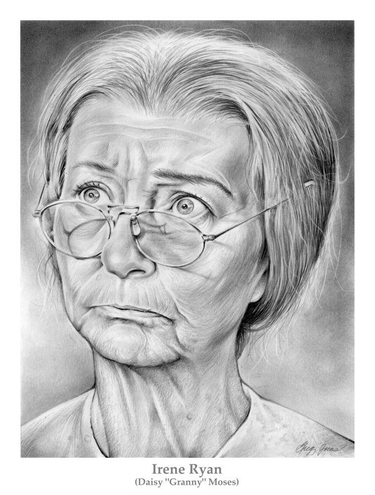 Irene Ryan as Granny on theThe Beverly Hillbillies by *gregchapin on deviantART [pencil drawing] #Art #CelebrityArt