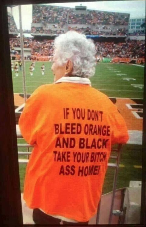 Grandmas Love the Game too! Words cannot express how much we j 'adore this Bengals Fan. She's got massive game day SWAG! Re-pin or <3 if you agree   #NFL #Football #Bengals #Fun #Women www.girlslovethegame.com