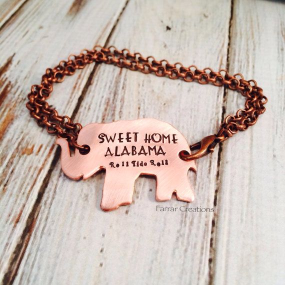 Hand Stamped Elephant Bracelet   - Rustic Football Jewelry - Alabama - Charm Bracelet - Gameday Apparel on Etsy, $30.00
