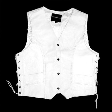 $49.99 - This white biker leather vest is made of 100% premium leather and is a great vest to put your patches on. Matching chaps and jacket available. Great attire for a bride or a groom.