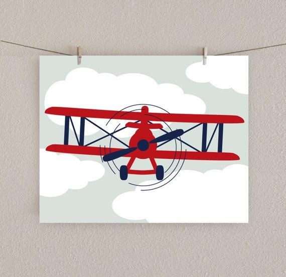 Baby Boy Nursery Print Airplane Art Red & by SlightlySprightly, $16.00