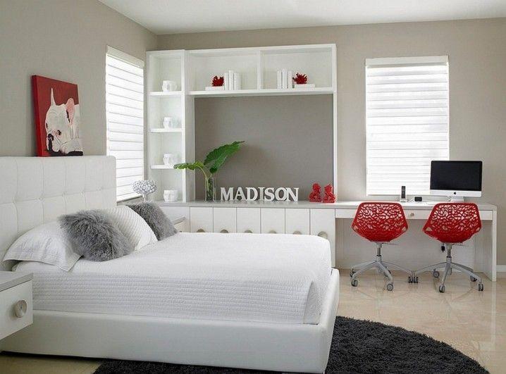 Wunderbare rote und graue Kombinationen beziehen im Schlafzimmer mit ein