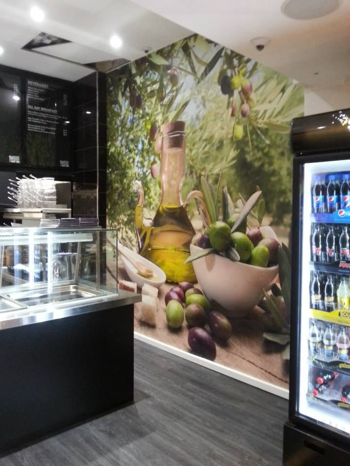 Dinner food commercial kitchen food court wall decor with advertising not just a wall decoration but also advertise there product.