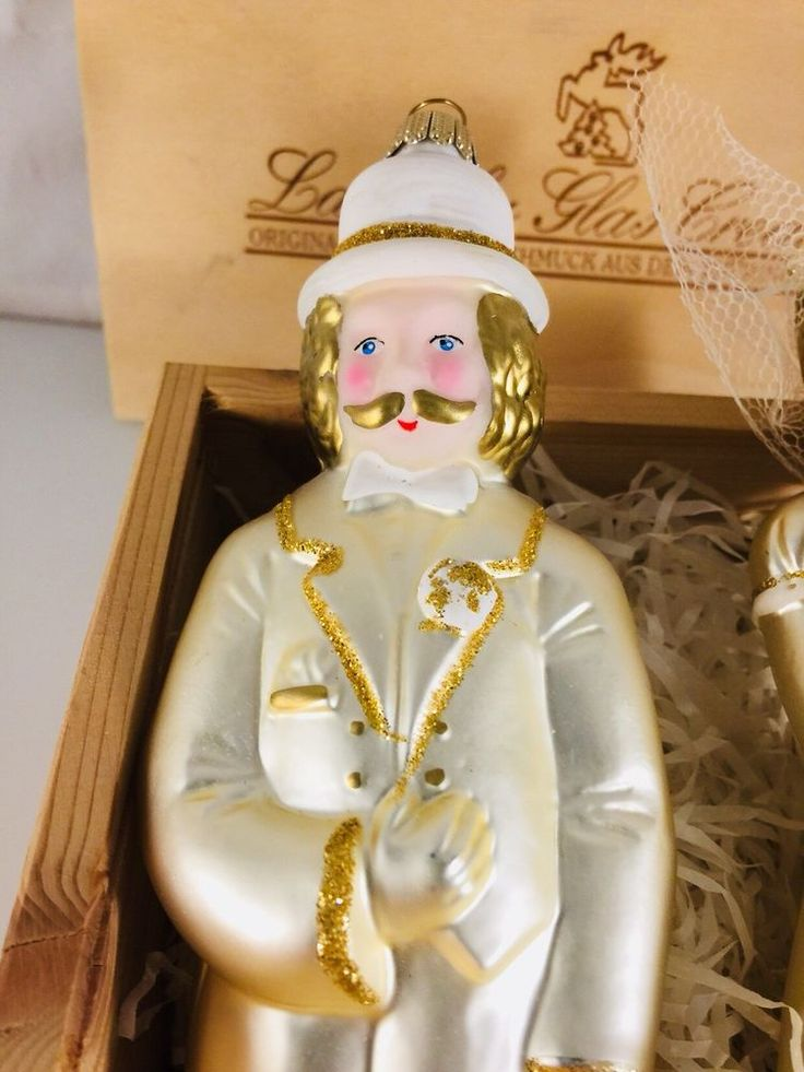 Groom Glass Ornaments By Lauscha Glas Creation In Original Wood Crate