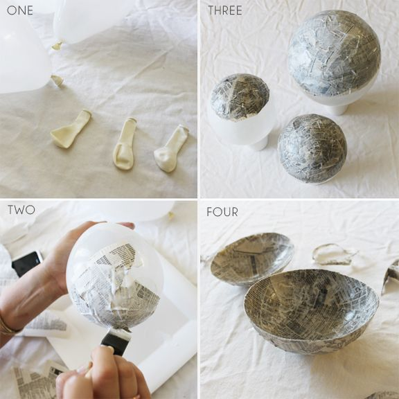 Paper Mache bowls. She uses gold leaf; I would probably mix and match acrylics and textured spray paint. Depending on the finish, this might give the impression of pricey pottery without the expense.