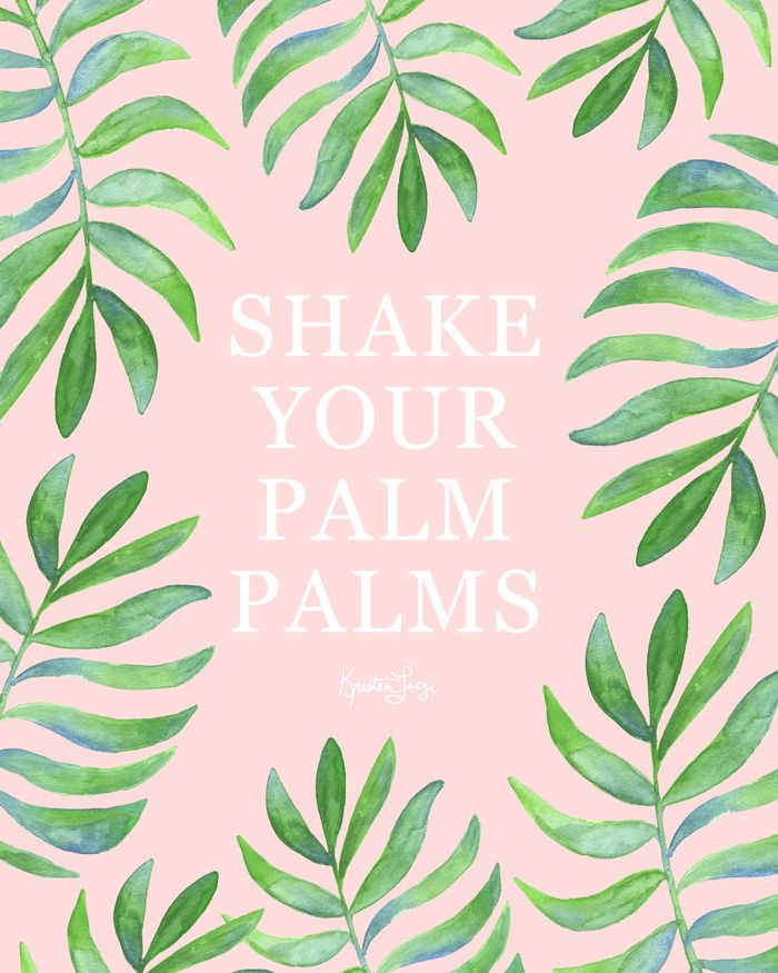 Watercolor Palm Leaf Shake Your Palm Palms Art Print | Funny Quote | Summer Vibes | Beach Vibes | Surf Chic | Summer Days | Life Free