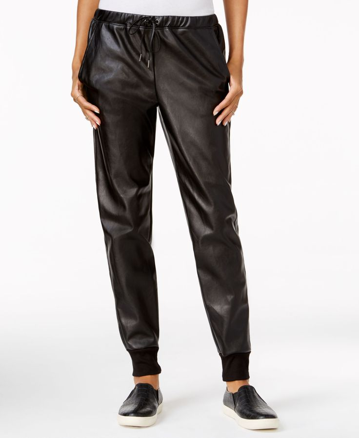 chelsea sky Faux-Leather Jogger Pants, Only at Macy's