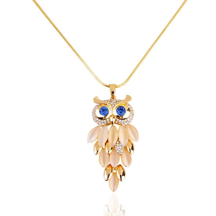 2015 New Brand Design Women Gold Necklace Zinc Alloy Crystal Jewelry Owl Necklace Pendant Long Vintage Necklaces for Women!N026
