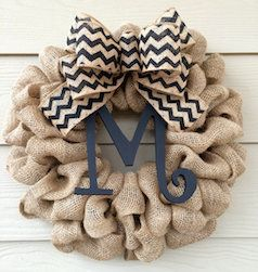 Burlap monogram door reef