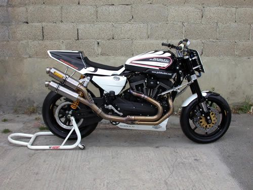 This year's race bike (2011) is an XR1200X with the Harris race exhaust.