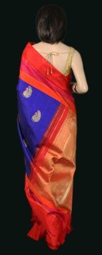 Brilliant Blue Kanjeevaram Silk Saree with Orange Border and Zari jari Buttas
