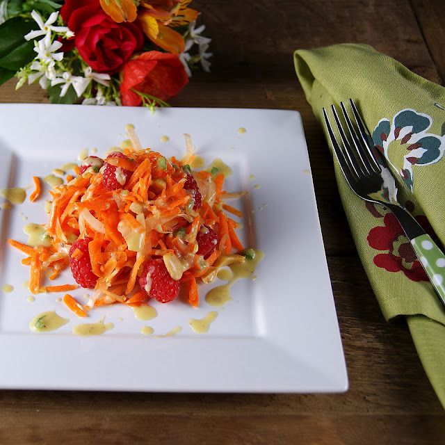 Carrot, Raspberry, Fennel, & Marcona Almond Salad with Creamy Ginger ...