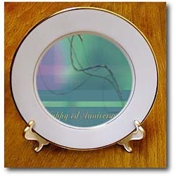 1st Anniversary, Employee, Business, Graceful Plaid Design - 8 Inch Porcelain Plate $34.99