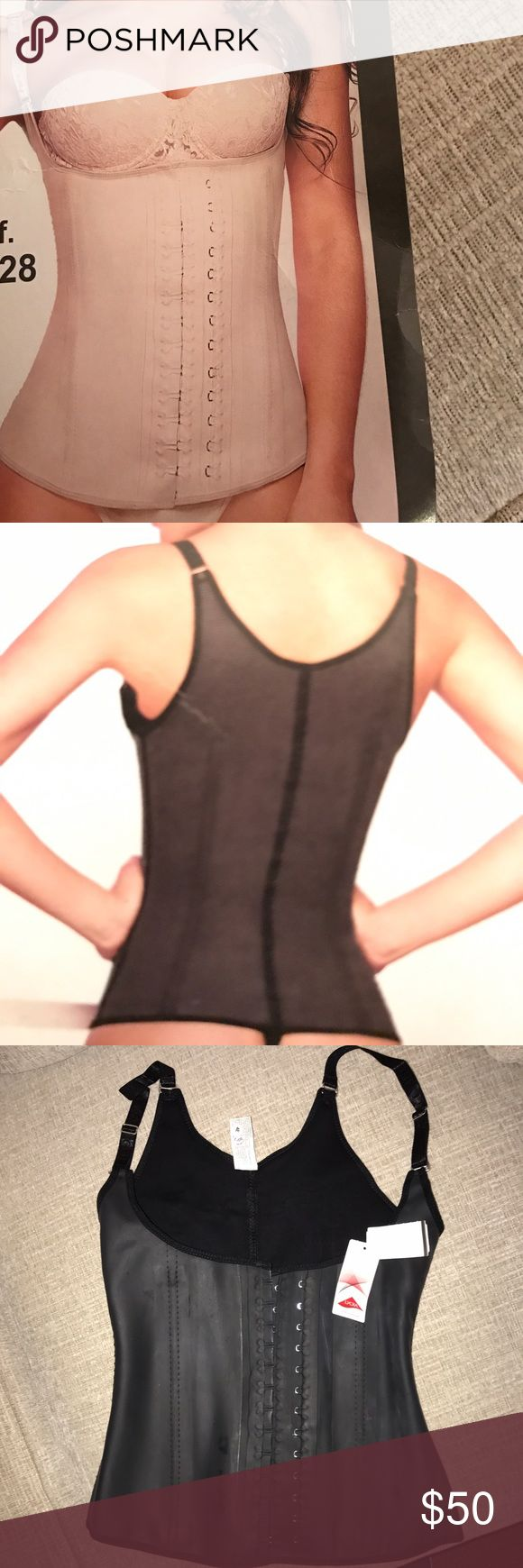 Adjustable vest waist trainer This is a black latex adjustable vest waist shaper. Very aggressive garment. Has full all around coverage and will help eliminate back bulge. Runs small. If in doubt go a size up. This garment will reduce your waist 1 -2 inches instantly and give you a hourglass figure. Black garment might have a powder film on it. This is just the nature of the latex material. Please send me a msg if your size doesn't appear on here.  😐No offers😉firm unless bundled or return…