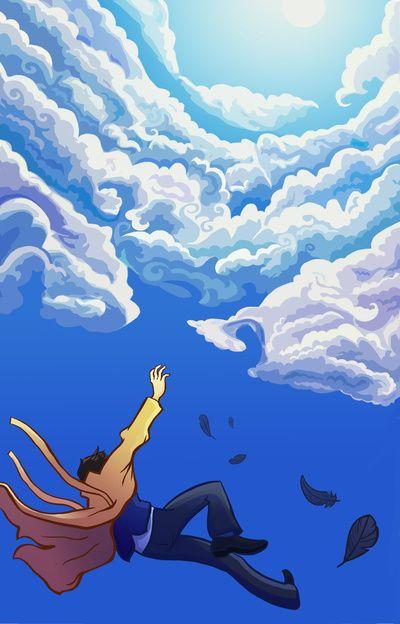 Castiel Falling by Grrrenadine
