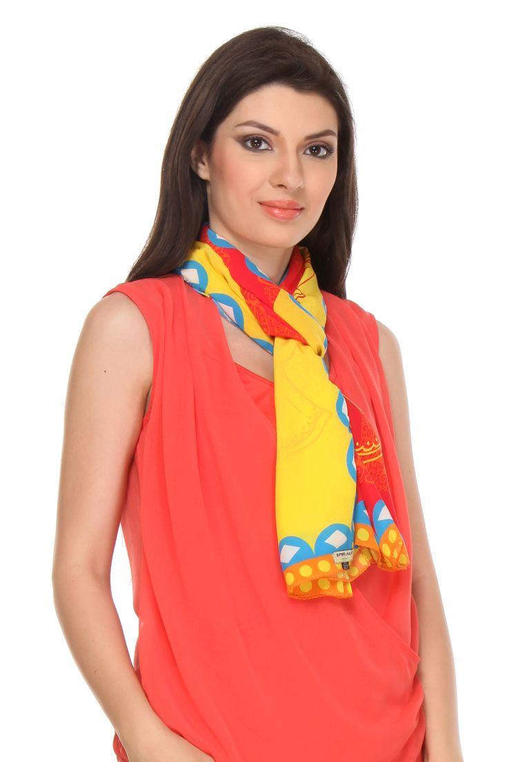 Dandiya Raas Scarf This digital printed crepe silk scarf gets its design inspiration from Dandiya Raas, a traditional folk dance form of Gujarat associated with scenes of Holi, and lila of Krishna and Radha at Vrindavan.