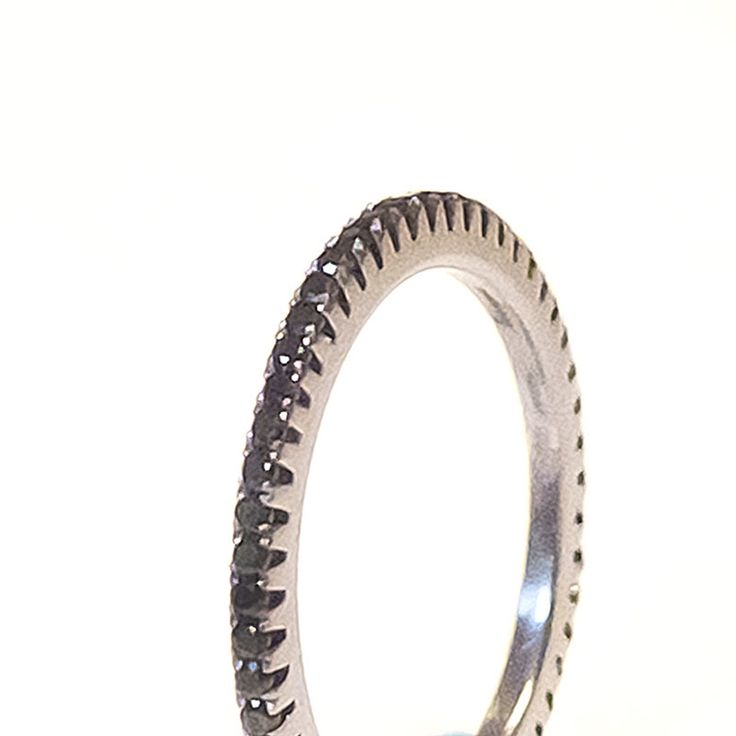 Silver Cataforesi and Black Swarovski Ring (closeup) $390.00- Margaux Wenger Bijoux