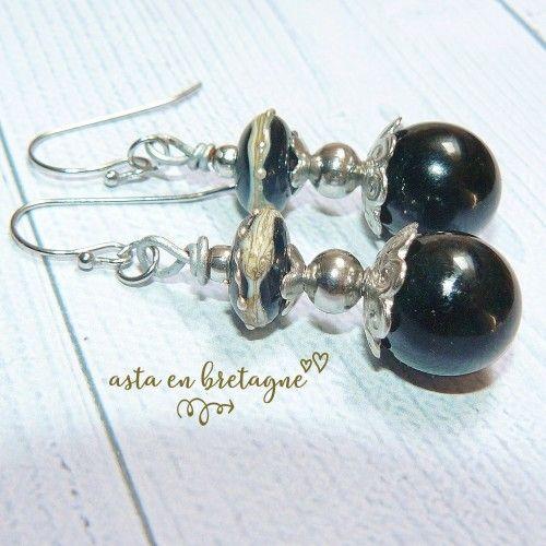 Boucles d'oreilles bohème, artisanal, acier inox et verre filé, noir – Idée cadeau femme, fête, anniversaires, Noël ♥ NUIT MAGIQUE ♥