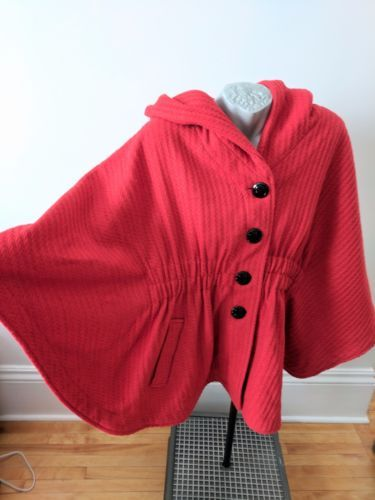 Steve-Madden-Tweed-Wool-Cape-Jacket-Hood-2XL-Spice-Tangerine-Fall-Coat-NWT