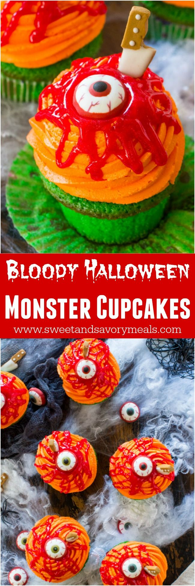 Bloody Halloween Desserts like these Toxic Cupcakes, are a fun and easy way to take your Halloween treats to a new scary, delicious and fun level! #halloween #bloody #cupcakes