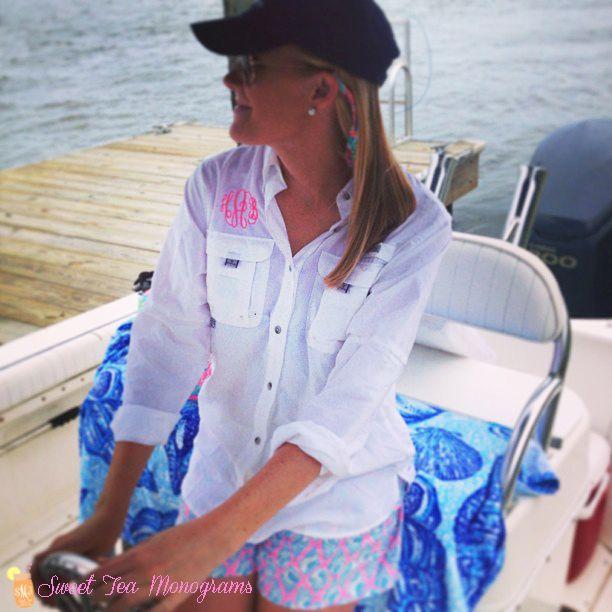 White women 39 s monogrammed bahama columbia pfg fishing for Columbia fishing shirts womens