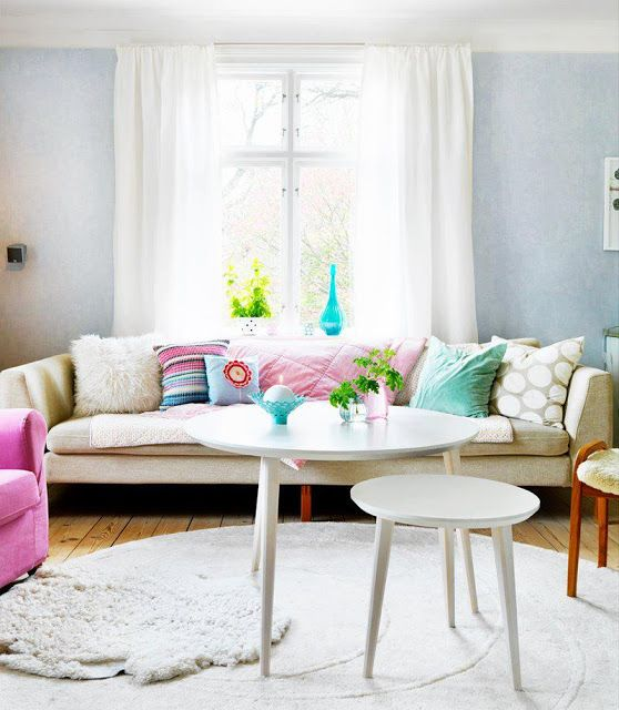 living room with sweet, sugary colors