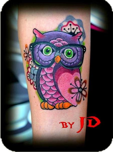 Colorful Owl Tattoos | Forbidden Images Tattoo Art Studio : Tattoos : JD McGowan : Nerdy Owl