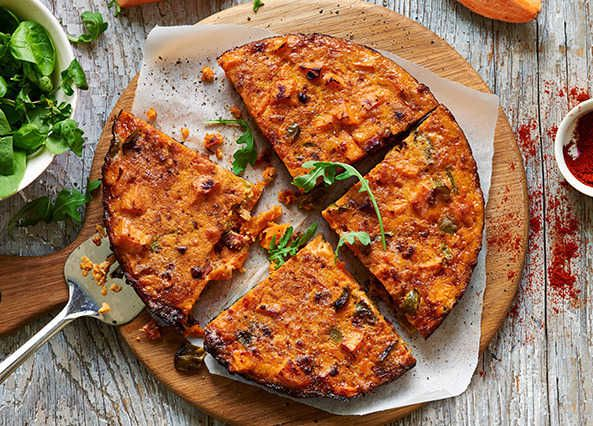 Spanish tortilla with sweet potato, green pepper and chorizo