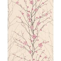 Graham & Brown Vitality Floral Wallpaper, Pink/Cream, 50-017