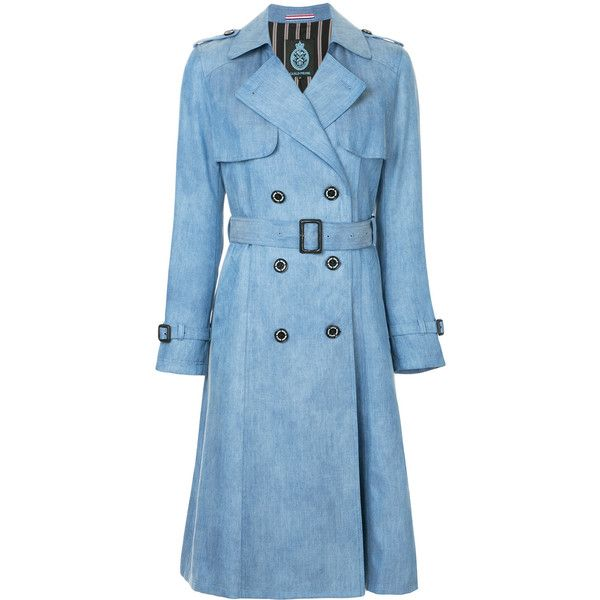 Guild Prime denim trench coat ($385) ❤ liked on Polyvore featuring outerwear, coats, blue, denim coats, denim trenchcoat, blue trench coat, blue coat and trench coats