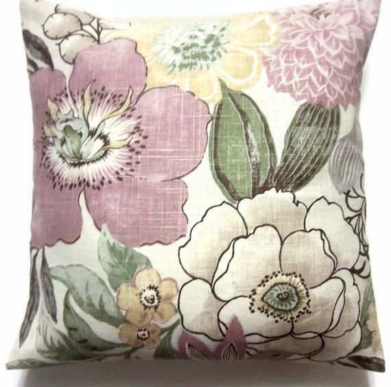 Two Lavender Linen Yellow Green Floral Pillow Covers Decorative Toss Throw  Accent Pillow Covers 16 Inch