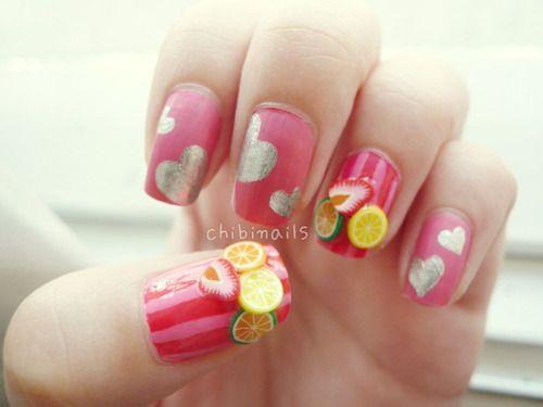 been there done that :): Nailartdesign Nailart, Fruitnaildesign Nailartdesign, Fruit Thes Fimo, Fruit Nails Art, Design Ideas, Fimo Fruit Thes, Fruit Nails Design, Nail Design, Silver Heart