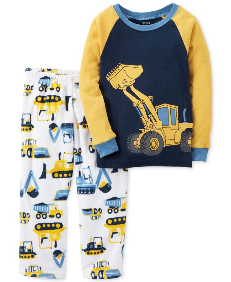 Build up snuggly bedtime style with this two-piece Carter's pajama set, featuring a cool construction theme. | Top: cotton; bottom: polyester | Machine washable | Imported | Top: ribbed crew neck and
