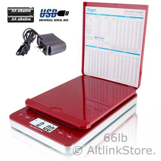 SAGA POSTAL SCALE 66LB X 0.1OZ DIGITAL SHIPPING SCALE POSTAGE AC USB ALL IN ONE #Saga