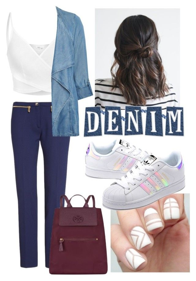 Denim wear by xjihye on Polyvore featuring polyvore, fashion, style, Evans, Versace, adidas Originals, Tory Burch and clothing