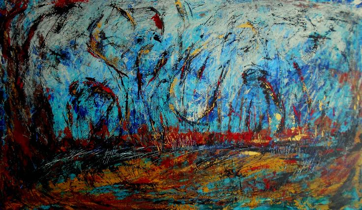"""In the land of silence, music is color"" Acrylics on canvas 120x70cm 30 October 2014"
