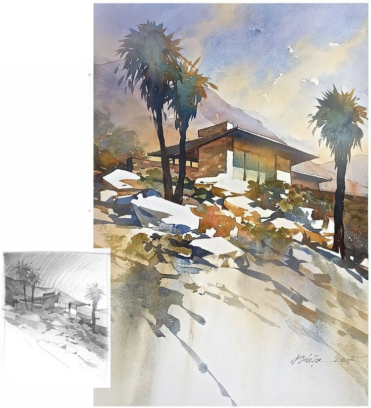 285 best images about landscape iv watercolor art on for The edris house palm springs