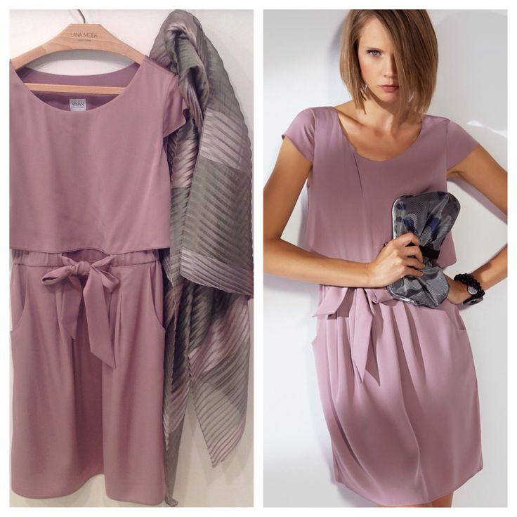 The #italianstyle of #Armani for this pretty silk dress in a #beautifull ancient pink with short sleeves. Available at www.lanamoda.it