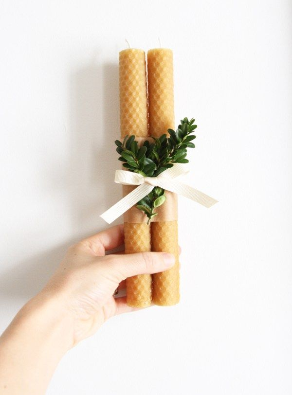 beeswax candle and boxwood - great idea for Christmas, and beeswax sheets are readily available at my local honey farm!!!