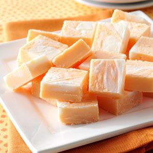 Marbled Orange Fudge Recipe- Recipes  This decadent treat doesn't last long at our house. The soft fudge is guaranteed to get smiles because it has the familiar taste of frozen Creamsicles. Bright orange and marshmallow swirls make it a perfect takealong for events and get-togethers. —Diane Wampler, Morristown, Tennessee