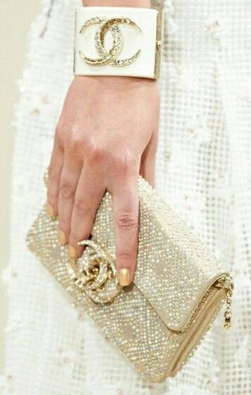 Diamond bracelet and clutch purse from the Chanel Resort 2015 collection. The perfect Valentine's day gift.