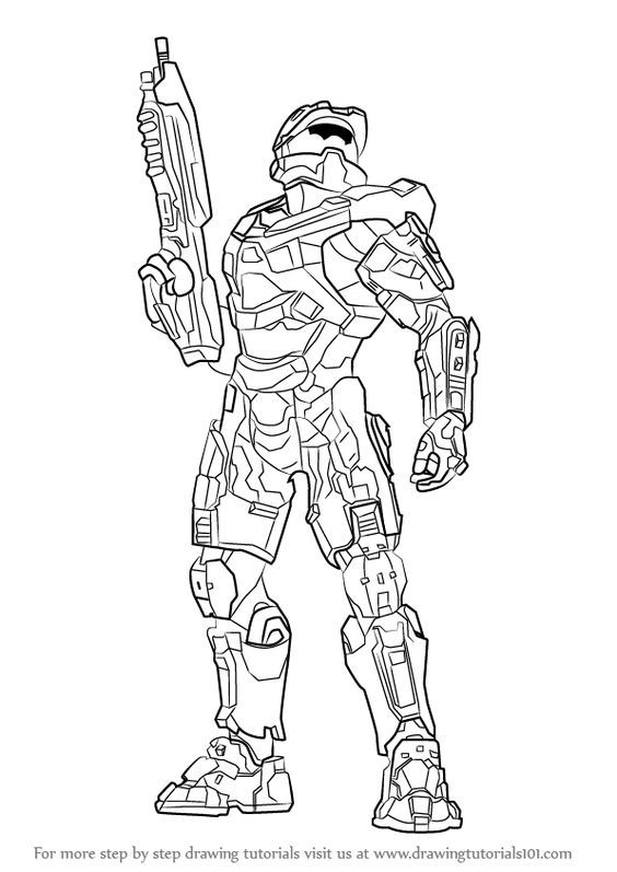 Learn How To Draw Master Chief From Halo Halo Step By Step Drawing Tutorials Halo Drawings Halo Master Chief Easy Flower Drawings