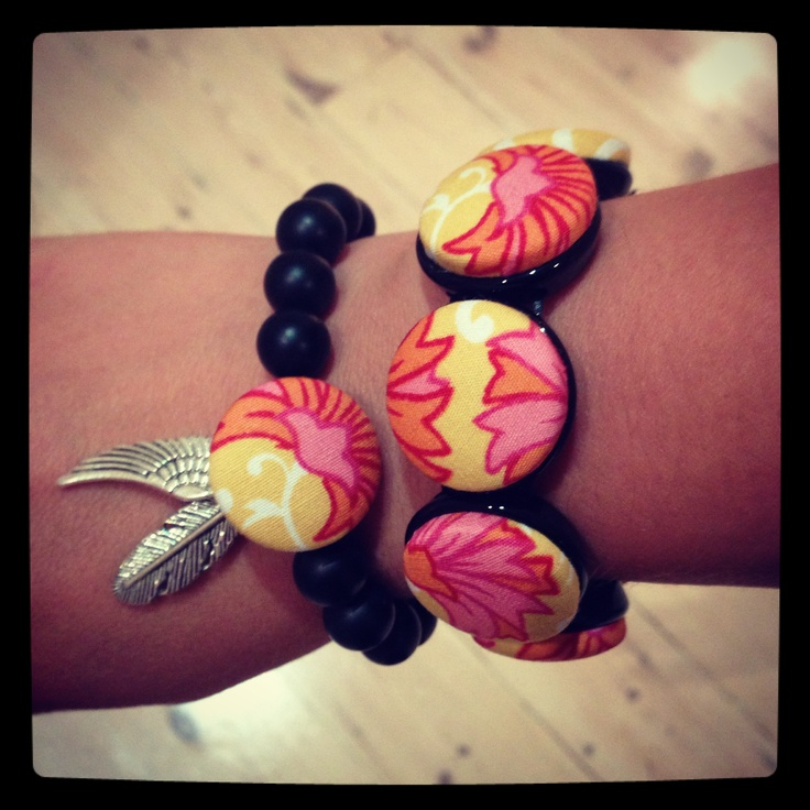 Combination bracelets. One fabric button bracelet with matching beaded bracelet with fabric button and metal charms