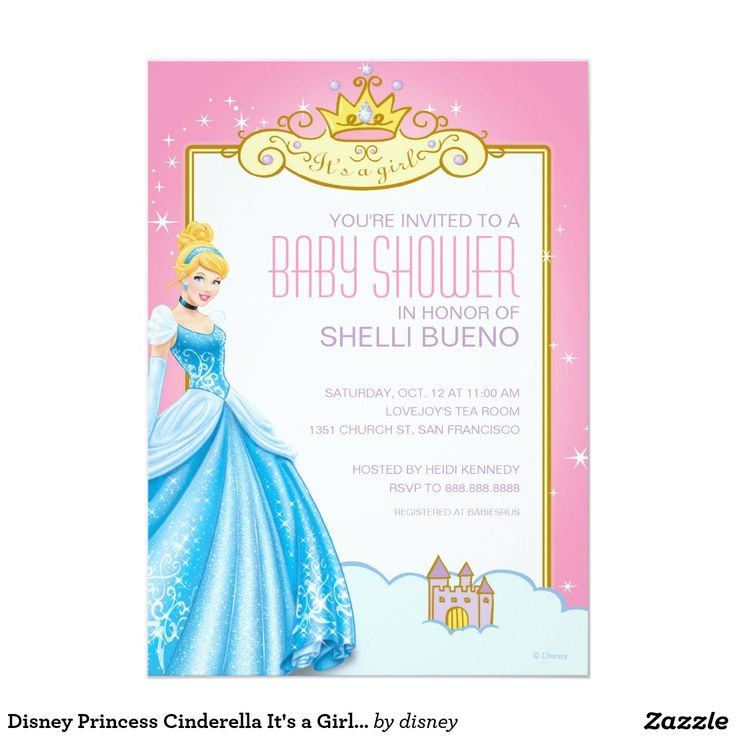 disney princess cinderella it 39 s a girl baby shower 5x7 paper